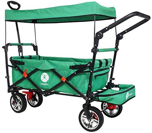 Miweba Faltbarer Bollerwagen MB-20 für Kinder - Bremse - Dach - Breitreifen - Transporttasche - Klappbar - UV-Beständig - Handwagen faltbar (Grün)