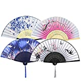 NETUME 4 Pieces Hand Folding Fans for Women, Silk Fabric and Hollow Carved Bamboo Handheld Folding Fan, Chinese Style Hand Fan with Tassels for Gifts and Wall Decoration