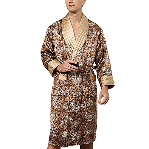 Hombre Bata Seda 100% Albornoz Largo Bata de Baño Ropa de Dormir Casual Kimono,para Piscina Sauna SPA Hotel Party,Amarillo,XL