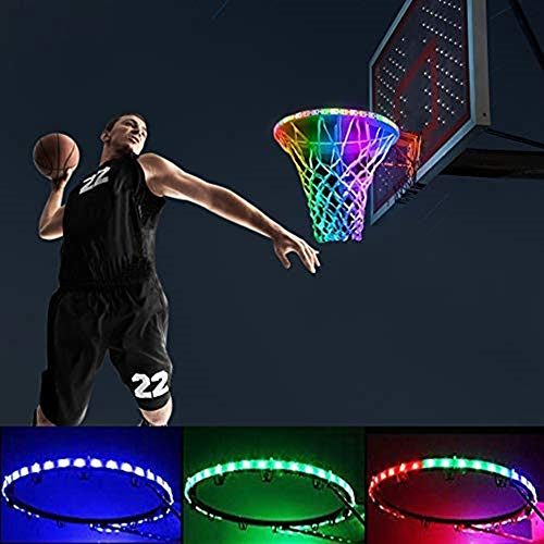Kwsdo Basketball Hoop Light up Rim Outdoor, Solar LED Basketball Hoop Lights, 8 Light Modes, IP65 Waterproof, Ultra Bright, Ideal for Playing Training Party Games at Night