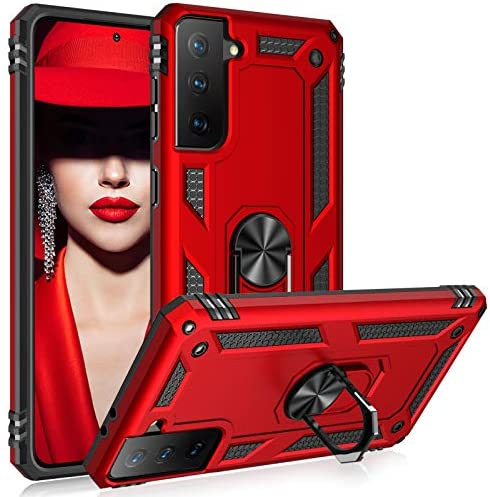 Case for Samsung Galaxy S21 5G Case Rugged Military Grade Heavy Duty Armor Shockproof Anti-Drop Galaxy S21 Phone Case Holder Kickstand Shell for Samsung Galaxy S21 5G 6.2 2021 Basic Cases (Red)