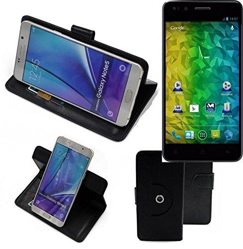 K-S-Trade® Handy Hülle Für Medion Life P5004 Flipcase Smartphone Cover Handy Schutz Bookstyle Schwarz (1x)