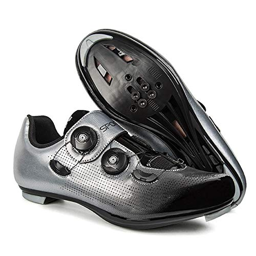 WPW Men Cycling Shoes Spd Cleat, Racing Road Spin Shoes Bicycle Shoes,Compatible with Peloton SPD/SPD-SL (Color : A GREY, Size : UK-8/EU42/US-9)