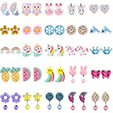 Kids Clip On Earrings, Hicdaw 25 Pairs Clip On Earrings For Girls Play Earrings for Party Favor Kids Princess Play Jewelry (Style 01)