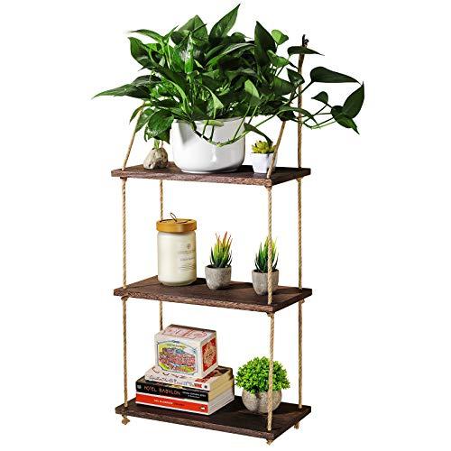 TJ.MOREE - Mensola da parete in legno per piante da appendere, a 3 ripiani, per finestra, decorazione per interni, cucina, bagno, camera da letto, colore: marrone scuro