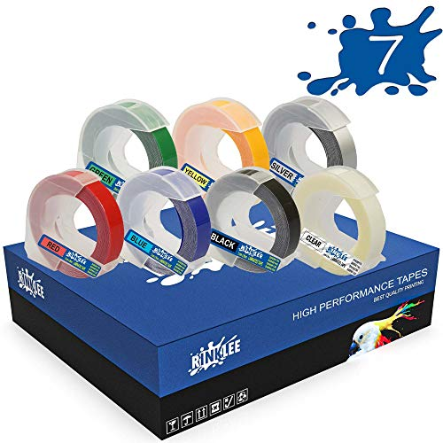 RINKLEE White on Black/Red/Blue/Green/Yellow/Clear/Silver 3D Embossing Label Tape Compatible with DYMO Omega & Junior Embossers | 9mm x 3m | 7-Pack