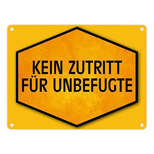 trendaffe - Kein Zutritt für Unbefugte Warn- und Hinweisschild in Gelb und Schwarz