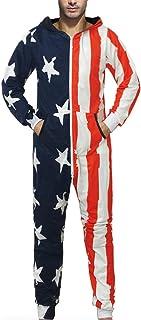着る毛布Lucaso 人気 メンズ オールインワイン カバーオール 星条柄 アメリカ国旗柄 ストライプ 星柄 フード付き 長袖 スウェット ゆったり カジュアル パジャマ 寝巻き 部屋着 ルームウェア 家庭用 ジャンプスーツ ロングワンピース