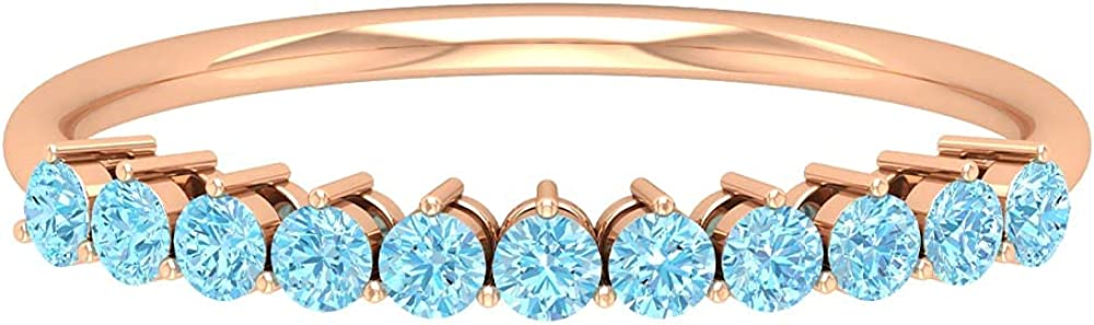 1 Inexpensive 2 CT Aquamarine Enhancer Year-end gift Gold 14K Ring Solid Band
