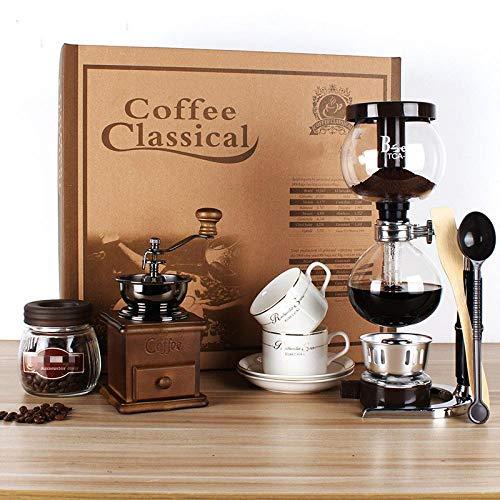 Siphon Topf Geschenk-Box Siphon Kaffeekanne Set Haus Glas manuelle Kaffeemaschine Schleifmaschine