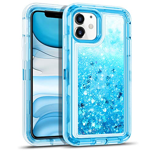 WESADN Case for iPhone 11 Case for Women Girls Glitter Cute Protective Shockproof Heavy Duty Clear Case with Sparkle Bling Quicksand Hard Bumper Soft TPU Cover for iPhone 11,6.1 Inches,Blue