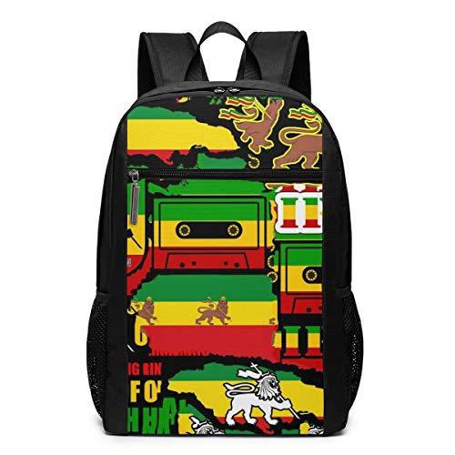NA Mochila escolar para mujer y hombre de 17 pulgadas, para escuela, acampada, viaje y portátil, color Rastafarian Reggae camuflaje, tamaño talla única