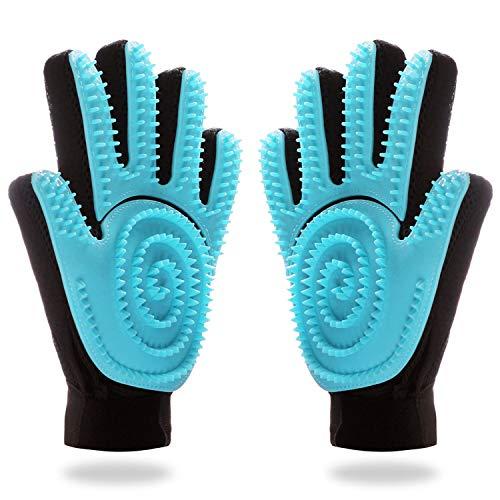 FASTDEER Pet Grooming Glove, Gentle Deshedding Brush and Massage Dog Brush, Cat Brush Horse Brush for Long & Short Fur