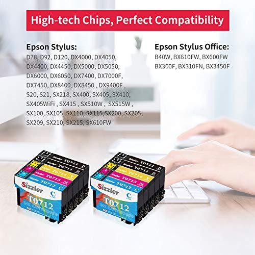 Sizzler T0715 XL Reemplazo para Epson T0711 T0712 T0713 T0714 Cartuchos de Tinta Compatibles con Epson Stylus SX218 SX200 SX205 SX100 SX105 S20 S21 SX400 D78 D92 DX4000 DX7400 Office BX300F BX610FW