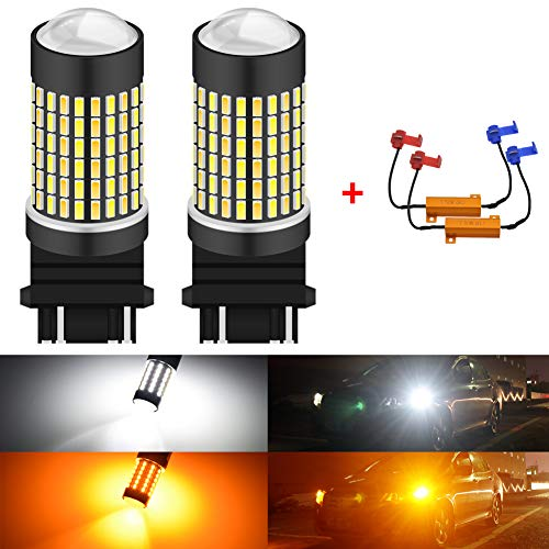 KATUR Super Bright 3157 3047 3057 3155 3156 P27/7W Switchback LED Bulbs White/Amber 3014 120SMD with Projector for Turn Signal Lights and Daytime Running Lights/DRL with 50W 8ohm Load Resistors