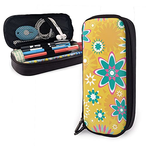 Patrón geométrico de impresión de una Sizepencil caso de cuero de gran capacidad cremalleras bolsa de lápiz oficina titular de la pluma organizador caja de papelería bolsa de cosméticos unisex