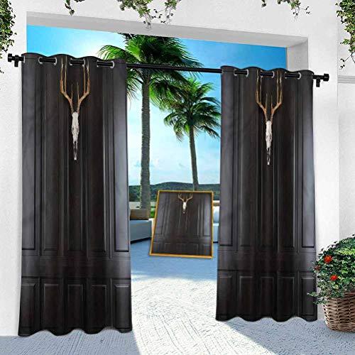 Aishare Store Vorhänge für den Innen- und Außenbereich, Geweih, Hirschschädel, Hörner an der Wand, 132,1 x 274,3 cm, Pergola-Vorhänge für Terrasse, Veranda/Sonnenraum (1 Panel)