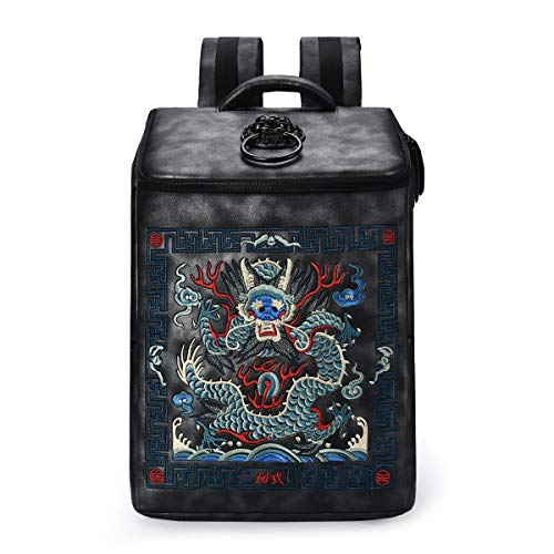 TXOZ Leather Backpack Laptop Backpack Shoulders Package Chinese Style Embroidery Bag Students Daypack for Travel, Light Weight Waterproof, 30x13x45 cm (Color : Black)