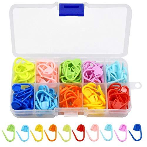 Dokpav 150 Stücke Maschenmarkierer, Strickzubehör Maschenmarkierer, Locking Stitch fur Stricken und Häkeln, 10 Farben
