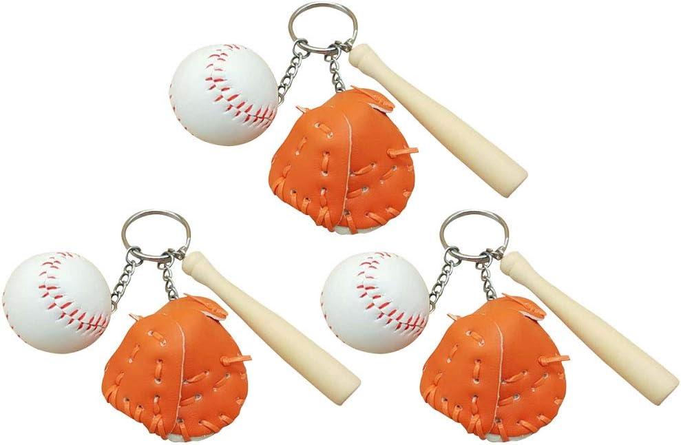 PRETYZOOM 3pcs Baseball Style Keychains Sports Theme Keyrings Bag Pendant Gift Key Holder for Women Kids Keyring Gifts