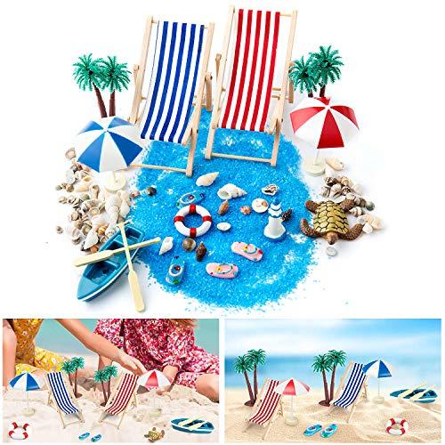 WolinTek Strand-Mikrolandschaft, Mini-Stranddekorationen, Geburtstagsgeschenk Miniatur Dekoration, Miniliegestuhl Deko Strand Palme, Booten,Sonnenschirmen, Miniliegestuhl usw(15 STK)