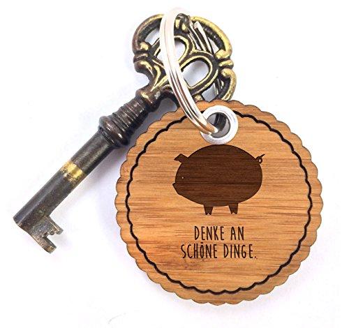 Mr. & Mrs. Panda Schlüsselband, Taschenanhänger, Rundwelle Schlüsselanhänger Schwein Classic mit Spruch - Farbe
