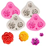 Whaline 4 Rose Flower Silicone Mold Assorted Sizes Rose Chocolate Mould Flower Candy Resin Fondant Baking Mold for Cake Topper Soap Wedding Birthday Valentine's Day Anniversary Party Decor, Pink&Gray