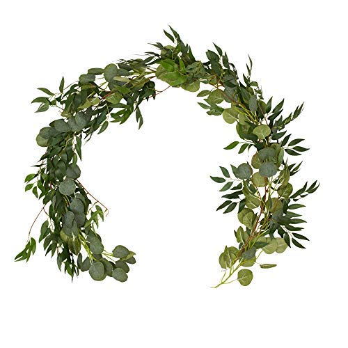 Artificial Eucalyptus Willow Garland/Fuax Greenery Garland -Table Runner/Kitchen/Outdoor/Home Decor/Wall Vines Decor-Artificial Plant Backdrop-Fake Green Centerpieces-Indoor Hanging Foliage Leave
