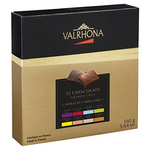 VALRHONA - Schachtel 8 Grands Crus 32 Täfelchen - Dunkle Schokolade und Milchschokolade - Tafel Schokolade - 160g