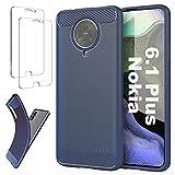 Ttianfa Coque Compatible Nokia 6.1 Plus Etui Cover Housse 【2X】 Verre Trempé,Fibre de Carbone...
