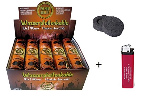 100 Stück Shishakohle 40 mm + gratis Feuerzeug - allaroundprofi24 - Shisha Hookah Wasserpfeife Smoking Kohle Holzkohle schnellzündend
