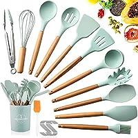 saixuan utensili cucina set,set di utensili da cucina in silicone,resistente al calore con manico legno antiaderenti da cucina 12 pezzi+12 s ganci