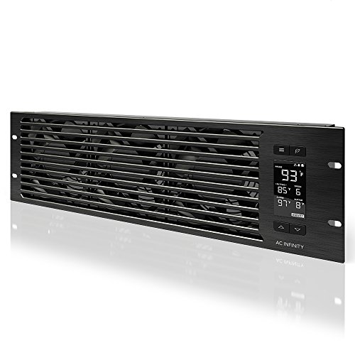 "AC Infinity CLOUDPLATE T9, Rack Mount Fan Panel 3U, Exhaust Airflow, for cooling AV, Home Theater, Network 19"" Racks"