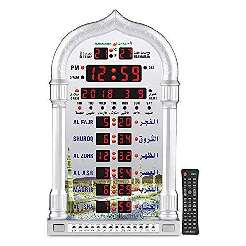 GRENSS Drop Shipping Azan Uhr Moschee Uhr Iqamah Muslimische Gebetsuhr Islamische Al Fajir Gebetszeit Muslimische Wanduhren-Silber_Russische Föderation