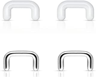 (4pcs) Clear Acrylic and Steel Septum Retainer 316L Surgical Steel 16GA 1/4