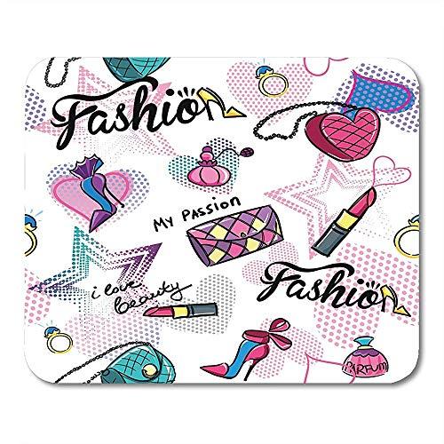 Muis Mat Blauw Roze Lippenstift Abstract Op Wit Met Kleurrijke Tekening Voor Meisjes Meisjes Meisjes Tender Zwart Leuke Paars 25 X 30Cm Anti-lip Mousepad Muis Mat Game School Office C