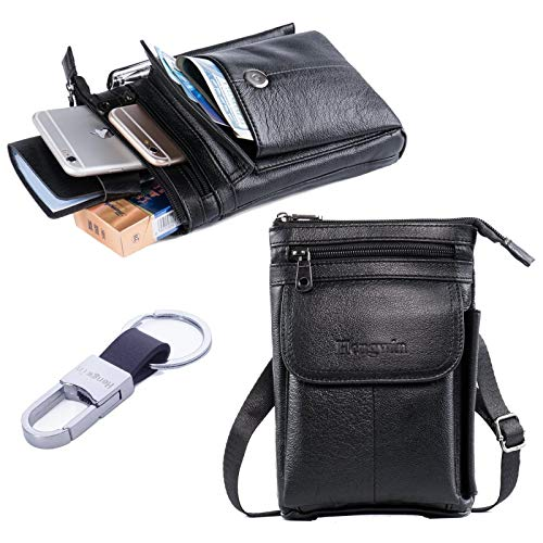 Hwin Men Travel Shoulder Bag Cell Phone Crossbody Purse iPhone 8 7 6 Plus Holster Case Leather Belt Waist Pouch Small Messenger Bag for Samsung Galaxy Note 10+ 9 8 S20 Ultra S10+ S9 S8 Plus LG G6/V30