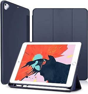 Wonzir 新しい iPad 9.7 ケース (2018モデル) Apple Pencil 収納可能 スタンド機能 iPad 9.7 インチ (2017新型) 第5世代 保護カバー 軽量 薄型 シンプル 三つ折タイプ 全面保護型 傷つけ防止 new iPad 9.7 第6世代 手帳型 ケース PU 便利なペンホルダー付き (iPad 9.7, ブルー)