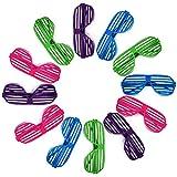 Novelty Place] Occhiali Colorati con Otturatore Neon Occhiali da Sole a Fessura per Festa Anni '80 per Bambini & Adulti - 12 Paia (4 Colori)