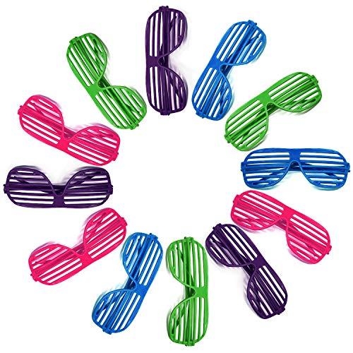 Novelty Place [Neuheit Ort] Neon Farbe Shutter Brille 80er Jahre Party Schlitz Sonnenbrille für Kinder & Erwachsene - 12 Paare (4 Farben)