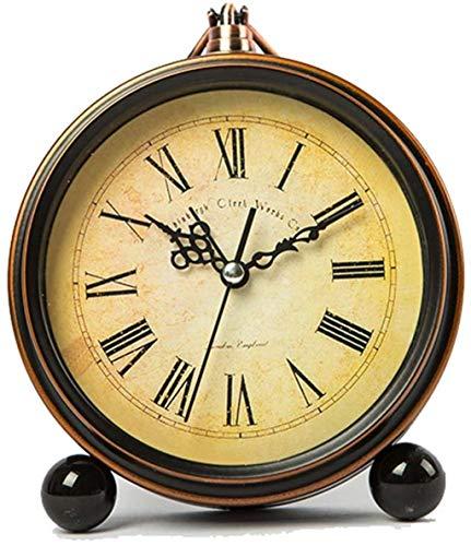 Reloj de Pared Reloj Despertador Hierro Retro pequeño Simple Mute Mute Cama DE MUDA Personalidad CASA Variedad 13.5cm * 15.5cm Waker (Color : Vintage)