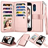 Njjex Compatible with LG Aristo 2/Aristo 3/Phoenix 4/Rebel 4 LTE/Tribute Empire/Dynasty/Zone 4/Fortune 2/Rebel 3 LTE/Risio 3/K8 Wallet Case, PU Leather Card Slot Holder Flip Lanyard Cover [Rose Gold]