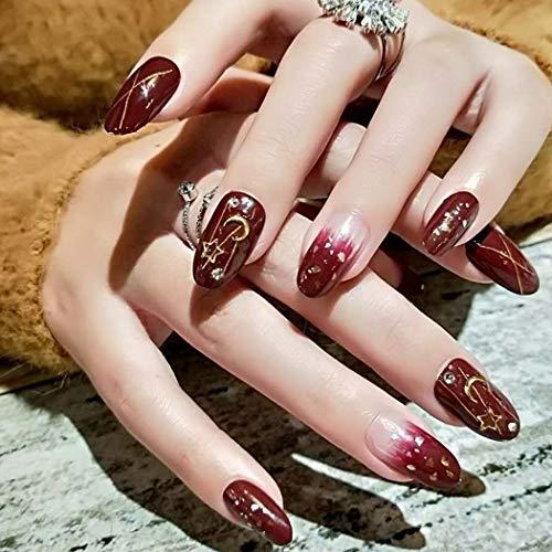Sethexy Glänzend Oval Falsche Nägel Schick Mond Star Funkeln Wein Gradient Vollständige Abdeckung Acryl 24 Stück Künstliche Nägel für Frauen und Mädchen