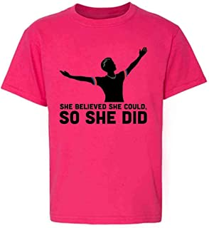 Pop Threads She Believed She Could So She Did USA Soccer Youth Kids Girl Boy T-Shirt