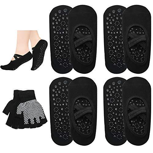 5 Pairs Non Slip Barre Socks as Yoga Socks for Women Pilates Ballet Dance Sport Grip Socks Non Skid Grippy Socks- Bonus Yoga Gloves