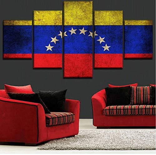 5 Unidades Bandera de Venezuela Decoración para el hogar Arte de la pared Imagen lienzo impreso cartel para sala de estarilustraciones modernas