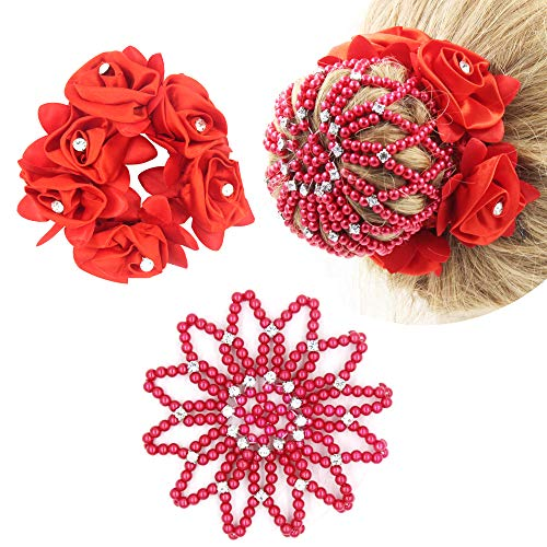 SUSULU 2pcs Hair Bun Holder Flower Hair Scrunchies Hair Bun Cover with Rhinestone for Women (Red)