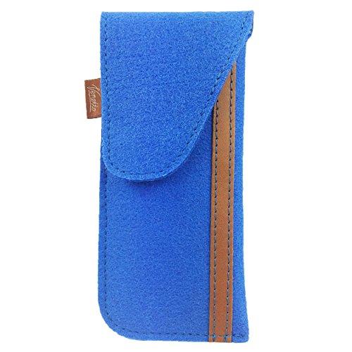 Venetto Venetto Brillenetui Hülle für Brille Brillentasche Einstecketui Tasche Etui zum einstecken aus Filz (Modell 02 Blau hell)