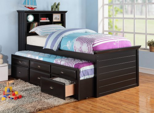 Black Captain Twin Bookcase Bed W/Trundle Bed and 3 Drawers Storage