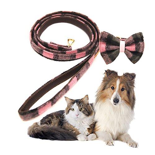 Legendog hond Leash modieuze Plaid patroon metalen haak huisdier Leash hond wandelen Leash met hond kraag, With Bowtie Collar XL, Roze XL